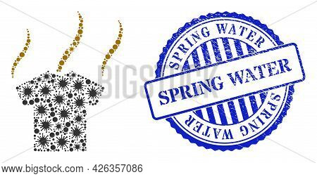 Viral Collage Smell T-shirt Icon, And Grunge Spring Water Stamp. Smell T-shirt Collage For Isolation