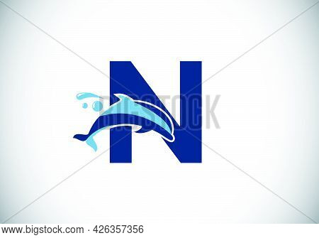 Initial N Monogram Letter Alphabet With A Dolphin Logo Design. Water Animal Icon. Font Emblem. Moder