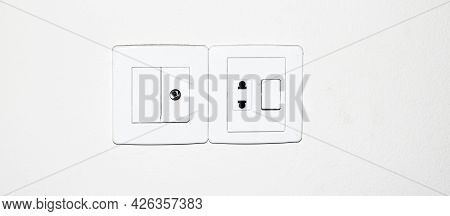 Designer Electrical White Switch Board With 3 Pin Socket And Switch.
