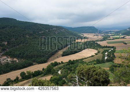 Beautiful Aerial View Of The Landscape From San Pantaleon De Losa. Burgos, Merindades, Spain, Europe