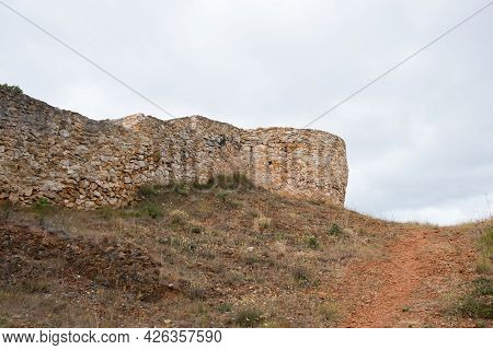 Ancient Walls Of A Castle At Merindades, Burgos, Spain, Europe. Cloudy Day, No People