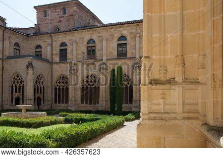 Beautiful Archade And Garden At San Salvador Monastery At Ona, Merindades, Burgos, Spain, Europe