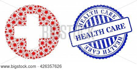Cell Collage Healthcare Icon, And Grunge Health Care Badge. Healthcare Collage For Medical Templates