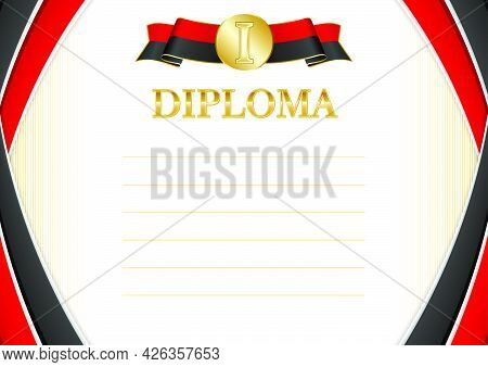 Horizontal  Frame And Border With Montenegro Flag, Template Elements For Your Certificate And Diplom
