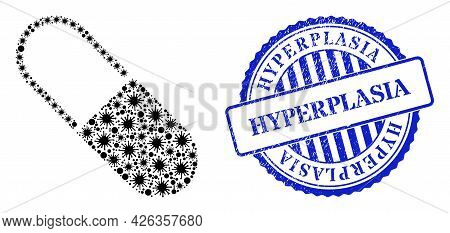 Bacterium Mosaic Medical Capsule Icon, And Grunge Hyperplasia Seal Stamp. Medical Capsule Collage Fo