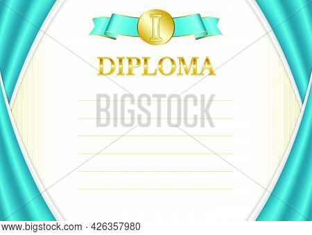 Horizontal  Frame And Border With Kazakhstan Flag, Template Elements For Your Certificate And Diplom