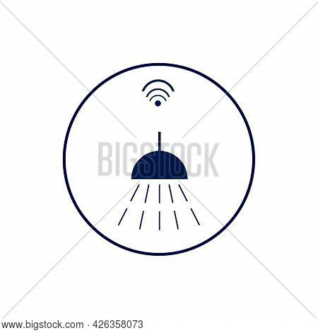 Smart Home Water And Sewage Control Icon Illustration. Shower And Water With Wi-fi Symbol