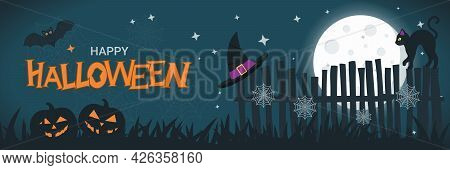 Halloween Banner Concept With Full Moon In The Night Sky, Spider Web, Scary Pumpkin, Black Cat On Th