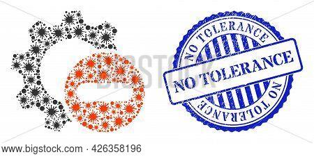 Bacilla Collage Remove Settings Gear Icon, And Grunge No Tolerance Seal Stamp. Remove Settings Gear