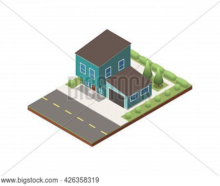 Isometric Two Storeyed Suburban House With Garage And Green Yard 3d Vector Illustration