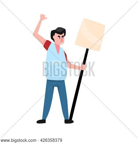 Angry Man Activist With Blank Placard On Stick Flat Vector Illustration