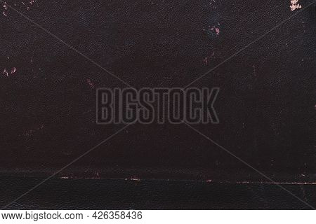Macro Photo Old Black Book Cover Texture. High Quality Beautiful Photo Concept