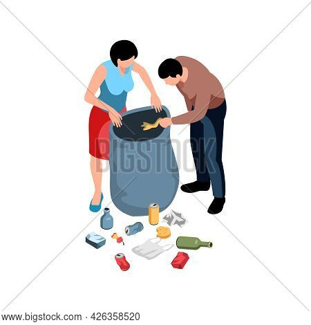 Isometric Environmental Pollution Icon With Two People Collecting Garbage 3d Vector Illustration