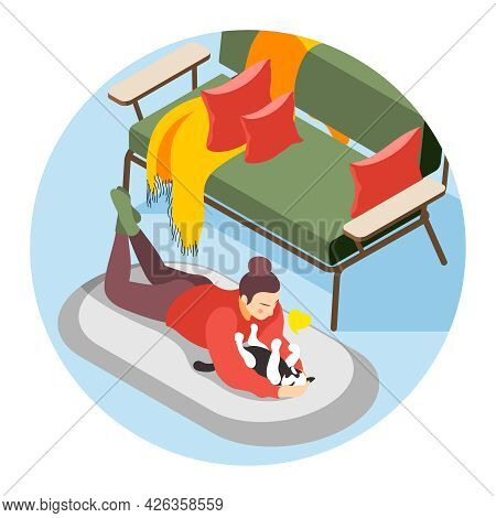 Hygge Lifestyle Composition With Woman Playing With Cat In Cozy Living Room Isometric Vector Illustr