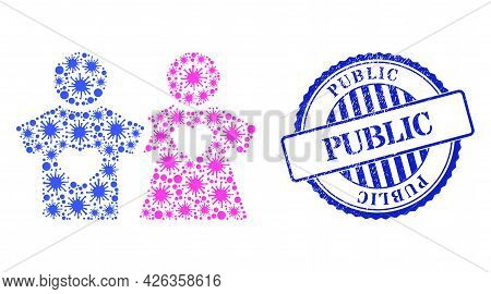 Bacilla Collage Lovers Persons Icon, And Grunge Public Seal Stamp. Lovers Persons Mosaic For Pandemi