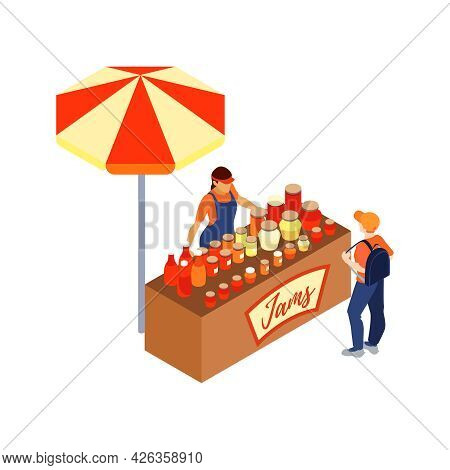 Isometric Icon With Vendor Selling Various Jams At Market Stall 3d Vector Illustration