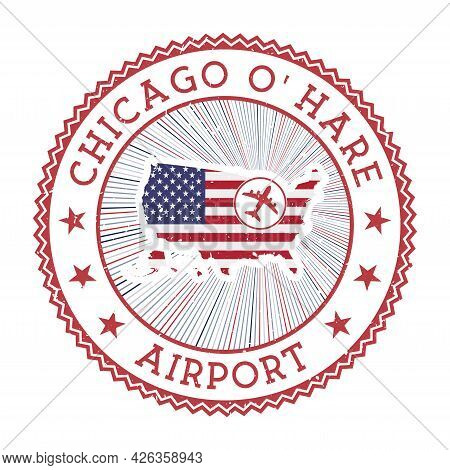 Chicago O'hare Airport Stamp. Airport Logo Vector Illustration. Chicago Aeroport With Country Flag.