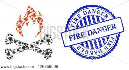 Bacilla Collage Hell Fire Bones Icon, And Grunge Fire Danger Seal Stamp. Hell Fire Bones Collage For