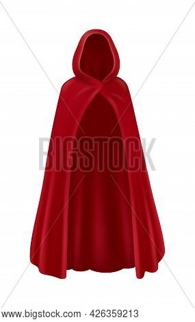 Realistic Red Cape With Hood Front View Vector Illustration
