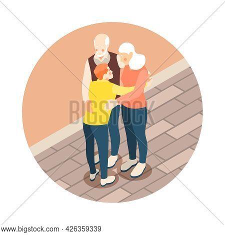 Grandparents Hugging Their Grandson Isometric Composition 3d Vector Illustration