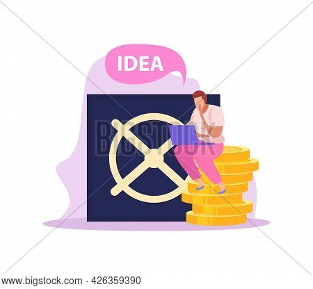 Crowdfunding Flat Icon With Vault Door And Man Sitting On Stack Of Coins Vector Illustration