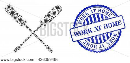 Cell Mosaic Screwdrivers Icon, And Grunge Work At Home Seal Stamp. Screwdrivers Mosaic For Pandemic