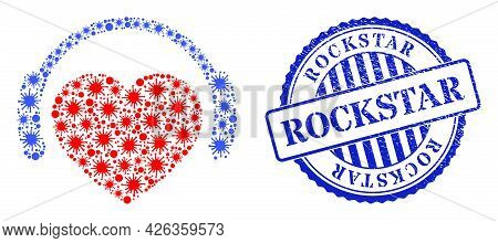 Infection Collage Romantic Heart Dj Icon, And Grunge Rockstar Seal Stamp. Romantic Heart Dj Collage
