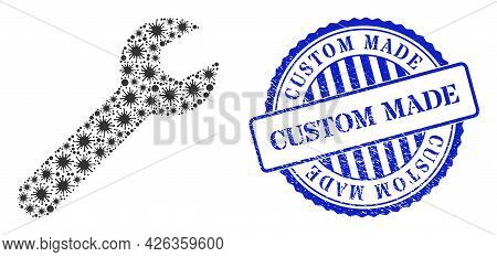 Cell Collage Repair Tool Icon, And Grunge Custom Made Seal. Repair Tool Collage For Breakout Images,