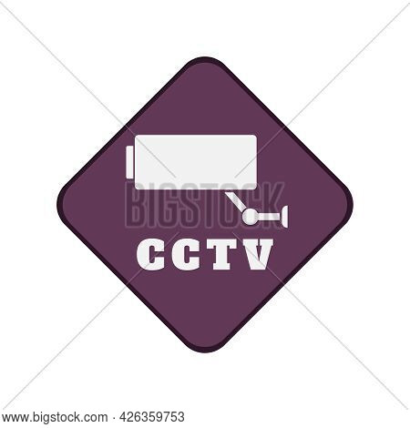 Cctv Security Camera Video Surveillance Flat Sign Vector Illustration