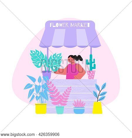 Floristry Flat Composition With Smiling Woman Selling Potted Plants At Flower Market Vector Illustra