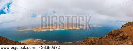 Volcanic Canary Island La Graciosa. Panoramic View From Mirador Del Rio