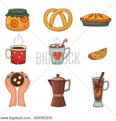 A Set Of Colored Doodles. Hot Drinks, Jam In A Jar, Pretzel, Coffee In Hand, Cocoa, Coffee Pot, Mull