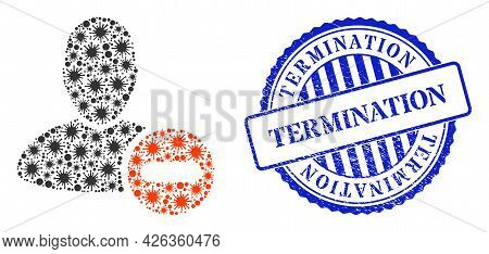 Covid Collage Remove User Icon, And Grunge Termination Seal. Remove User Collage For Medical Templat