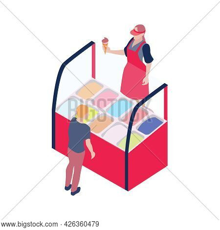 Isometric Icon With Ice Cream Market Stall Vendor Holding Chocolate Cone And Customer 3d Vector Illu