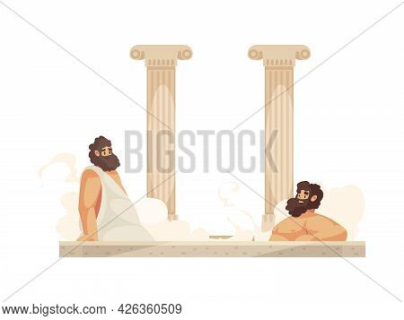 Cartoon Roman People Wearing Tunics Relaxing In Thermal Bath Vector Illustration