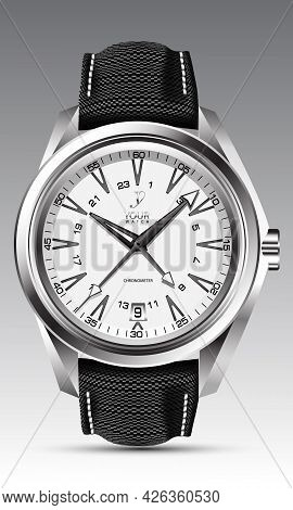 Realistic Watch Clock Silver White Face Black Arrow Number With Fabric Strap On Grey Design Classic