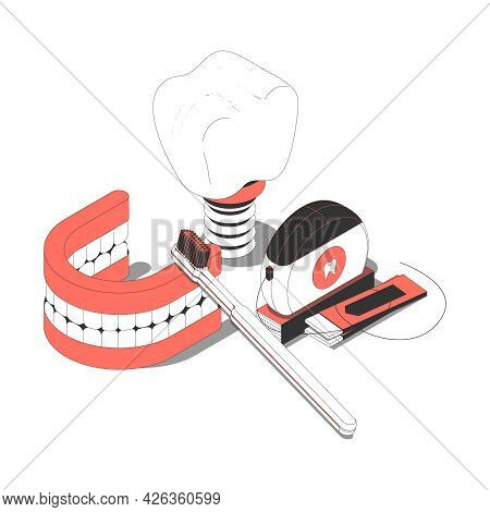 Dentistry Isometric Composition With Dental Floss Implant Prosthesis Toothbrush Gum 3d Vector Illust