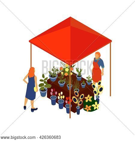 Local Market Isometric Icon With Vendor Selling Flowers And Potted Plants Under Tent 3d Vector Illus