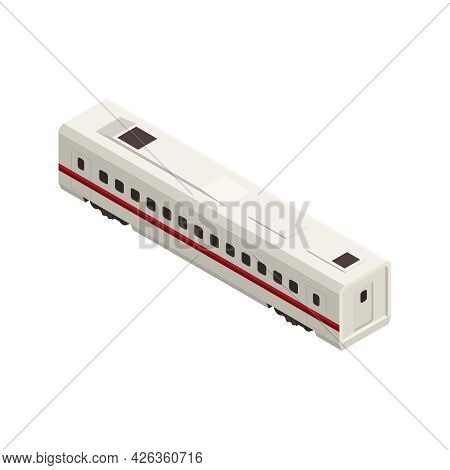 Isometric White Train Carriage With Red Stripe Back View 3d Vector Illustration