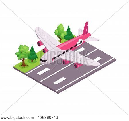 Air Travel Composition With Plane On Takeoff Runway 3d Isometric Vector Illustration