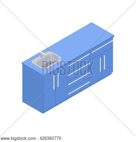Isometric Kitchen Cupboards With Sink In Blue Color 3d Vector Illustration