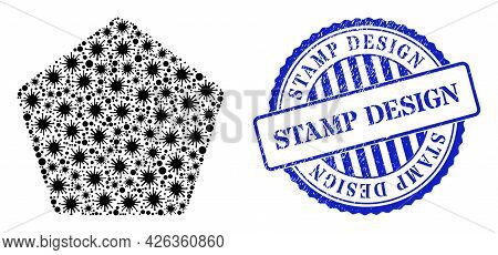 Coronavirus Collage Rounded Pentagon Icon, And Grunge Stamp Design Seal Stamp. Rounded Pentagon Coll