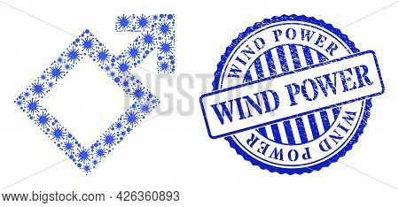 Viral Mosaic Male Symbol Icon, And Grunge Wind Power Stamp. Male Symbol Collage For Epidemic Images,