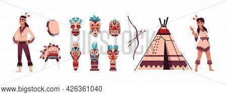 Cartoon Indians. Aztec Or Maya Persons. Man Or Woman With Ritual Shaman Tiki Mask, Feather Headwear