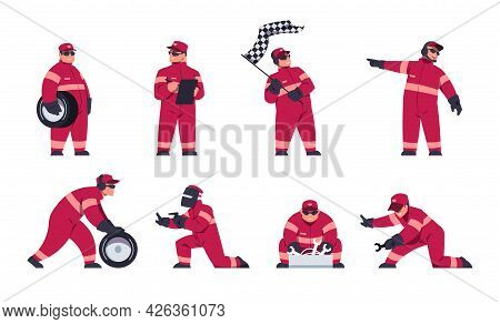 Racing Engineers. Race Car Team. Pit Stop Workers In Uniform. Driver And Maintenance Mechanics Chang