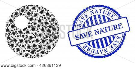 Cell Mosaic Sphere Icon, And Grunge Save Nature Seal Stamp. Sphere Mosaic For Isolation Images, And