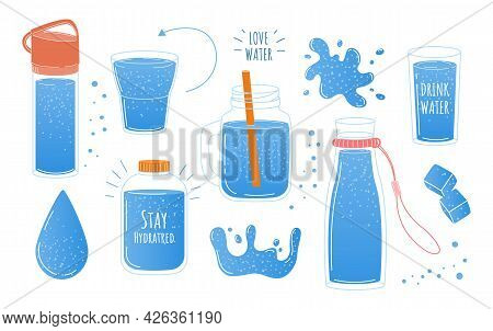 Doodle Water. Cartoon Glass And Bottle For Liquid. Blue Drops Or Splashes. Isolated Fitness Drink Co