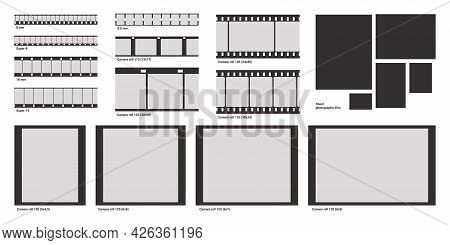 Film Photo Frame. Negative Photography Strip. Vintage Movie And Video Border Template. Retro Cinema