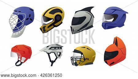 Safety Helmet. Race Driver And Sport Head Protective Equipment. Construction Worker And Engineer Har