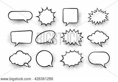 Comic Speech Bubble. Cartoon Retro Surprise Dialog Frames. Blank Sketch Form For Pow, Splash And Boo